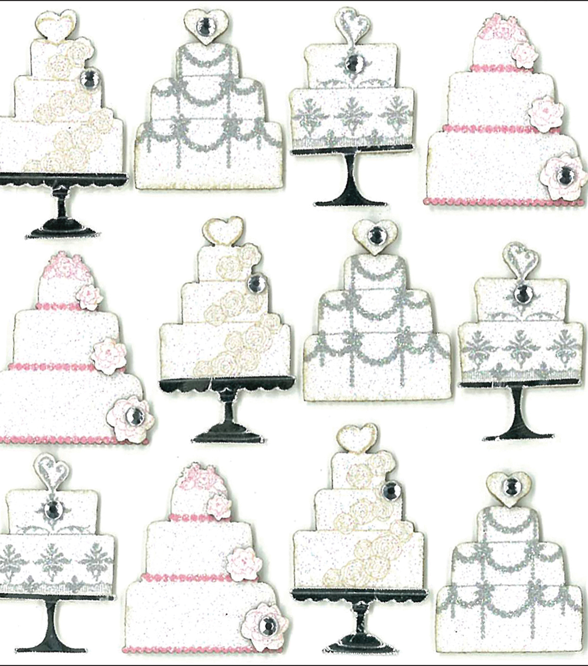 Jolee's Boutique Dimensional Mini Repeats Stickers-Wedding Cake