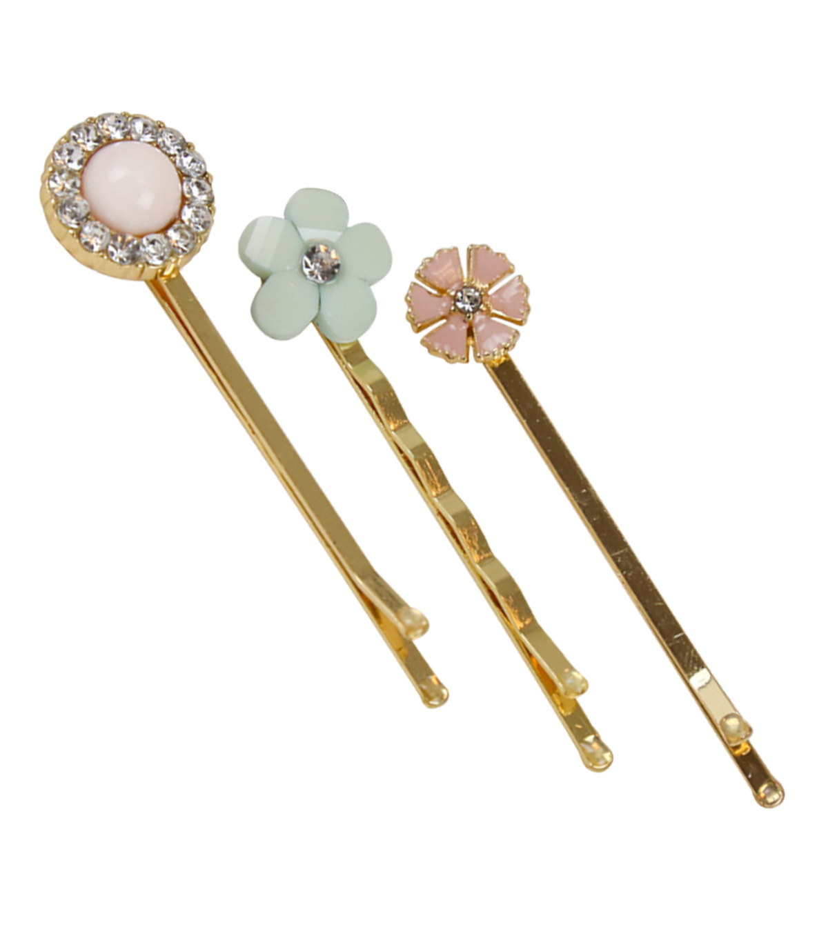 Save The Date™ Pack of 3 2.25\u0027\u0027 Floral Bobby Pin-Pink & Mint