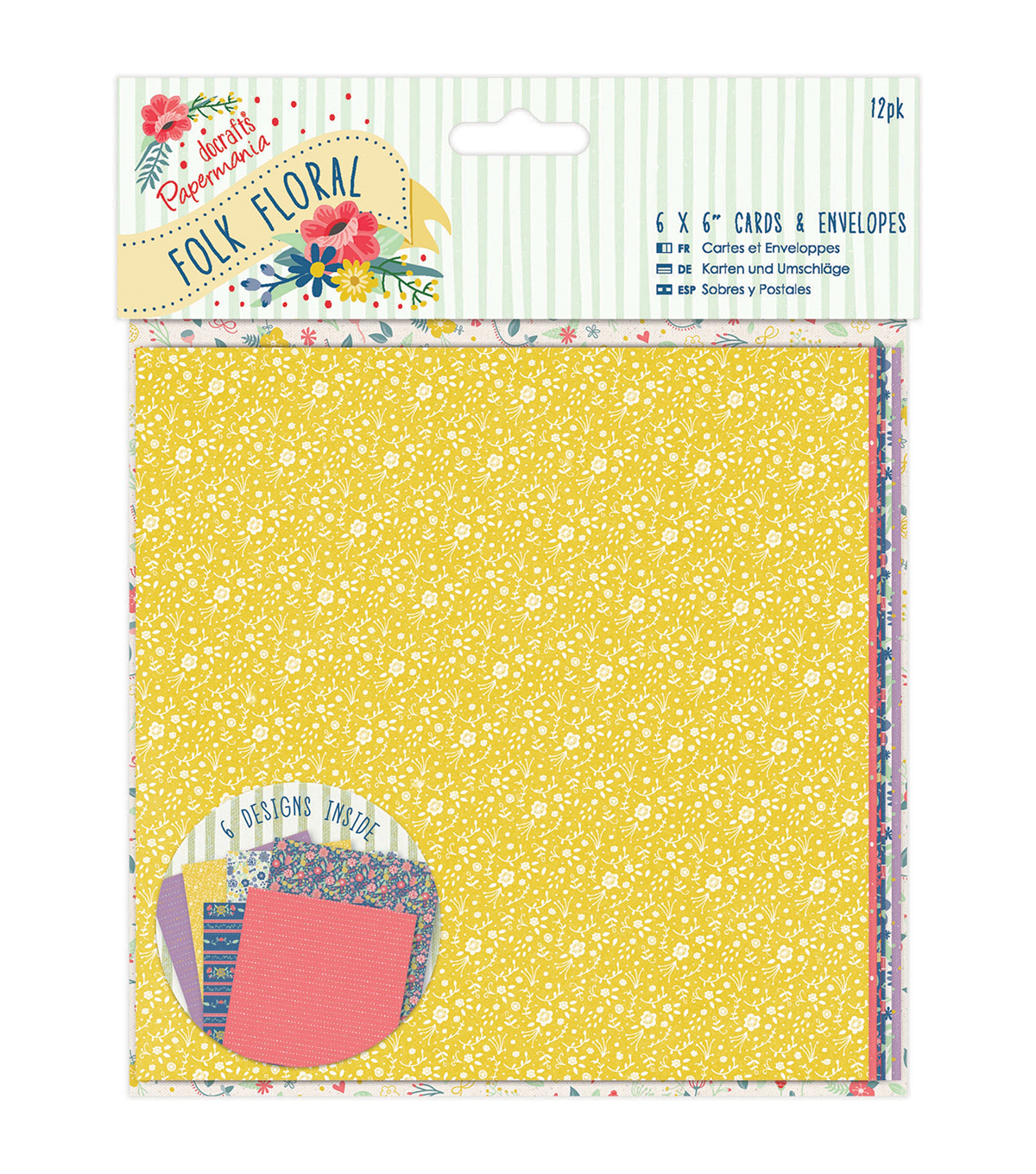 Papermania Folk Floral 6''x6'' 12ct Cards & Envelopes