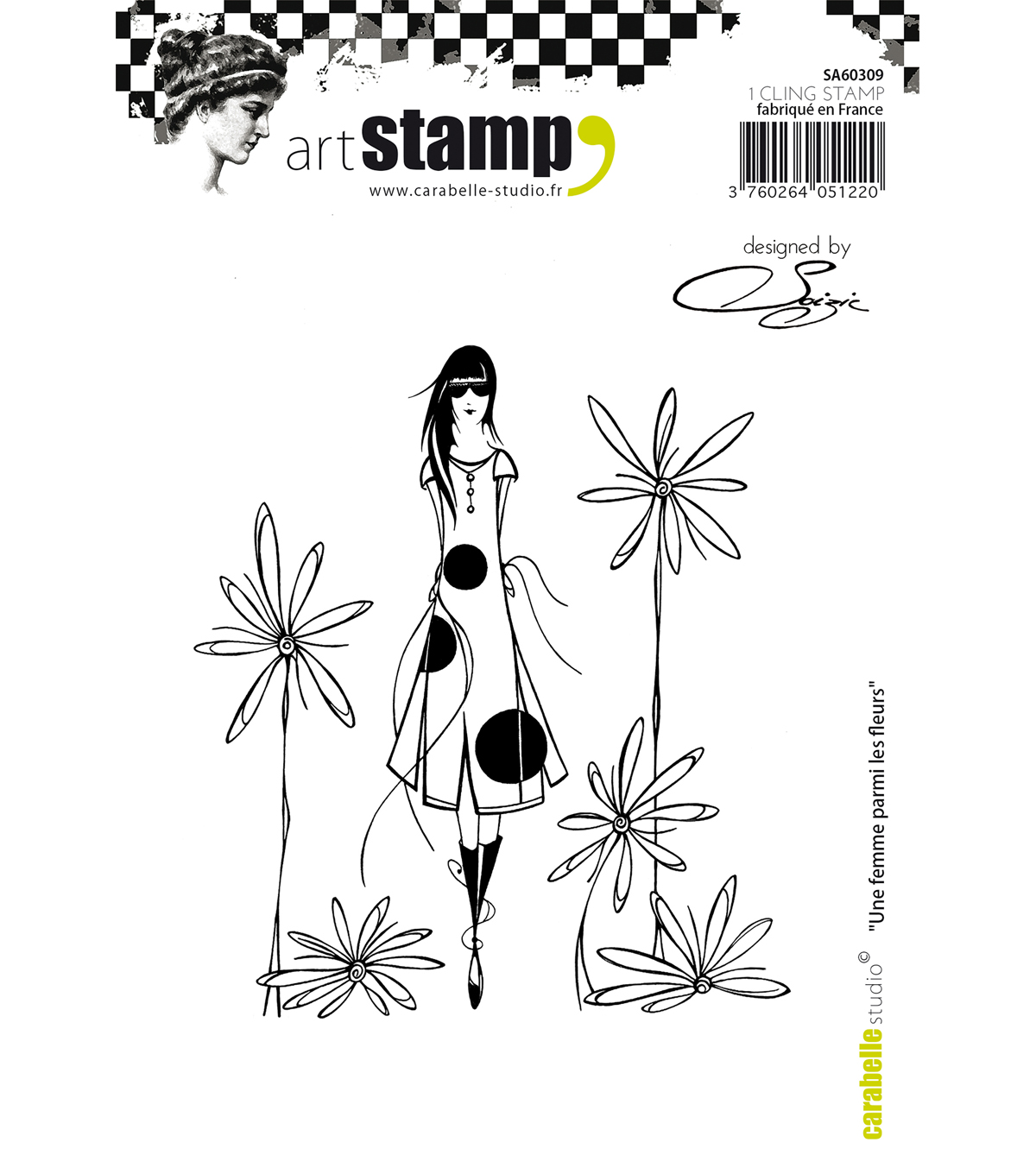 Carabelle Studio Cling Stamp A6 By Soizic-A Woman Among The Flowers