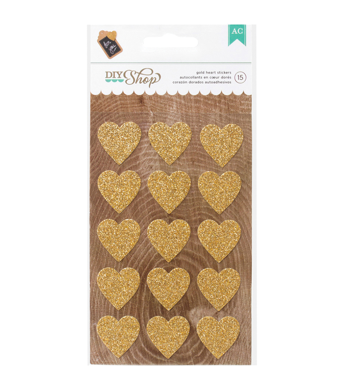 American Crafts DIY Shop 2 Gold Hearts Glitter Stickers