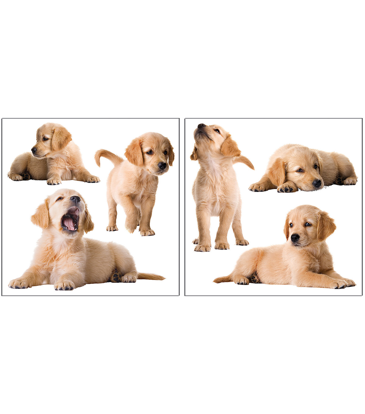 Home Decor Puppies Wall Stickers, 6 Piece Set