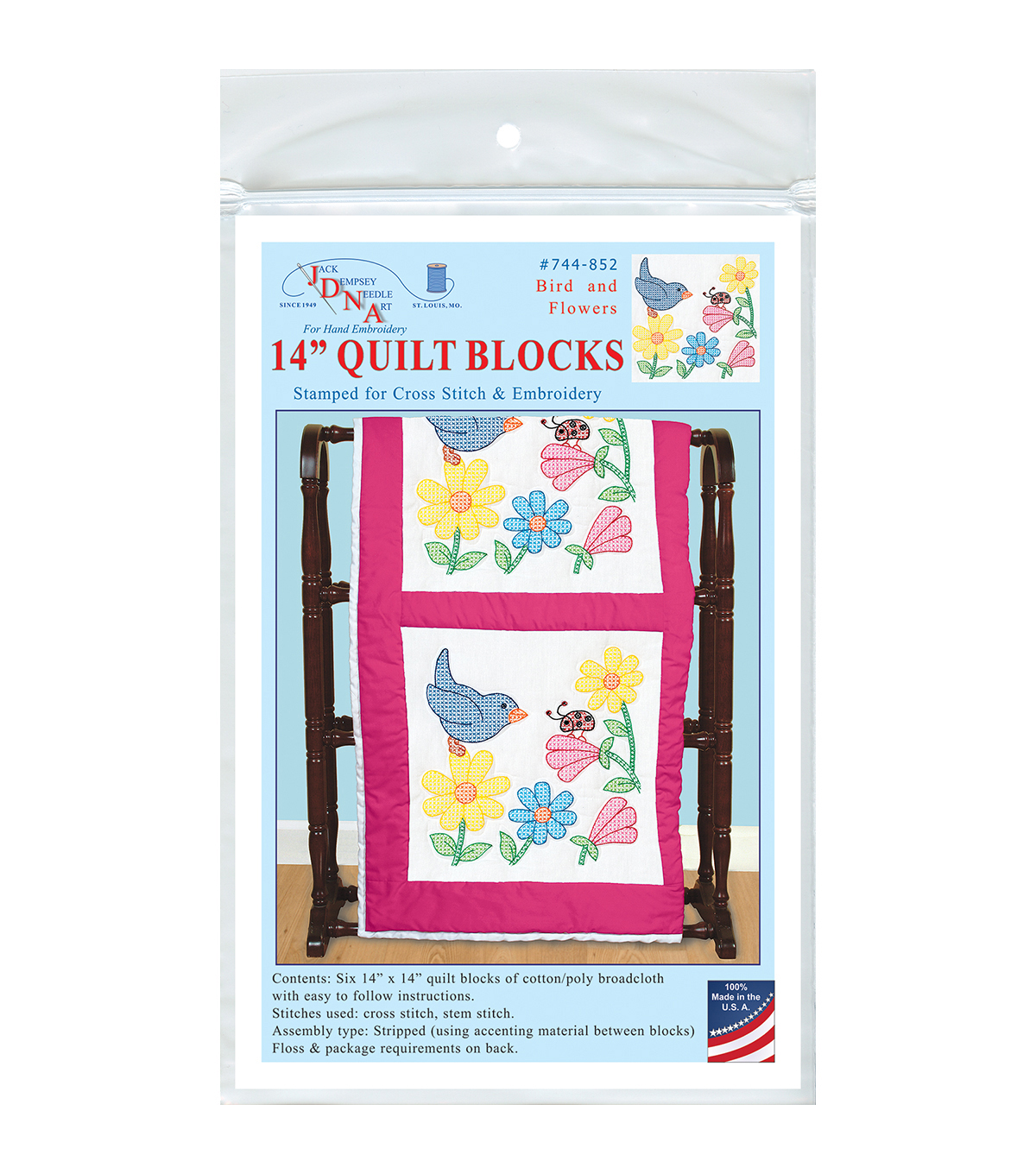 Jack Dempsey Stamped Quilt Blocks-Bird And Flowers