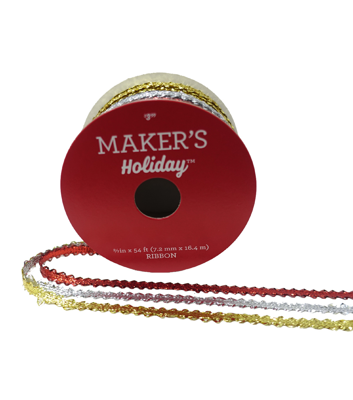 Maker's Holiday Christmas Ribbon 2/7''x54'-Gold, Silver & Red