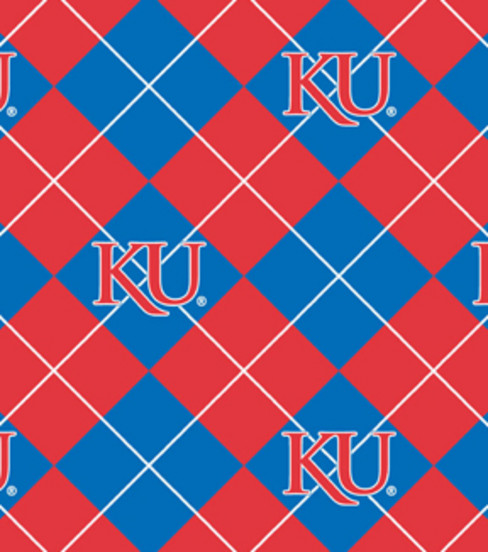 "University of Kansas Jayhawks Fleece Fabric 58""-Argyle"