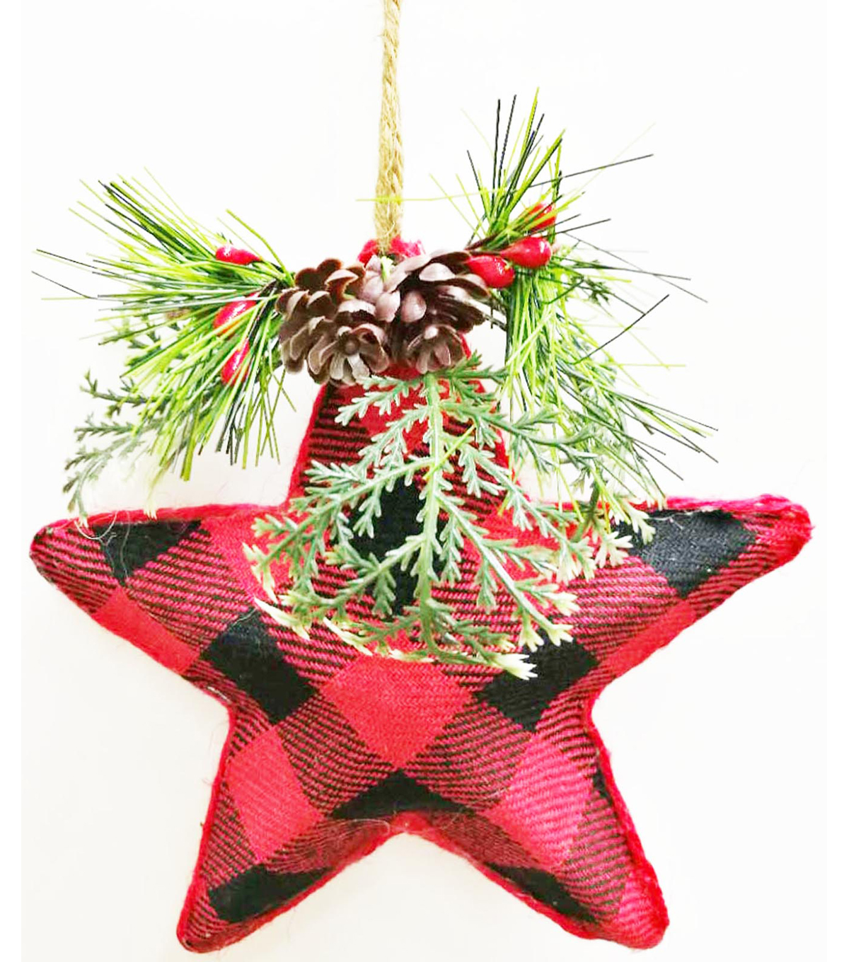 Maker\u0027s Holiday Christmas Woodland Lodge Star Ornament-Buffalo Plaid
