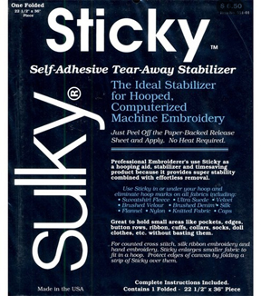 Sulky Self Adhesive Tear Away Stabilizer-22-1/2\u0022W x 1yd