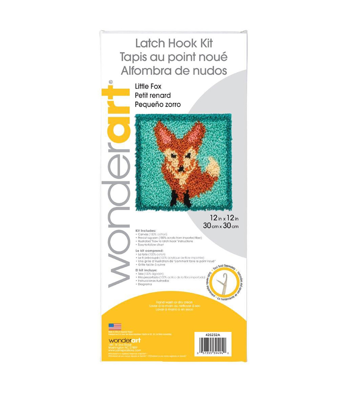 Wonderart Latch Hook Kit 12\u0022X12\u0022-Little Fox