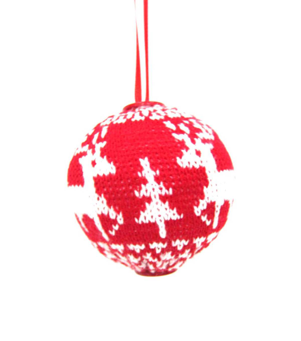 Maker\u0027s Holiday Red and White Reindeer Ornament