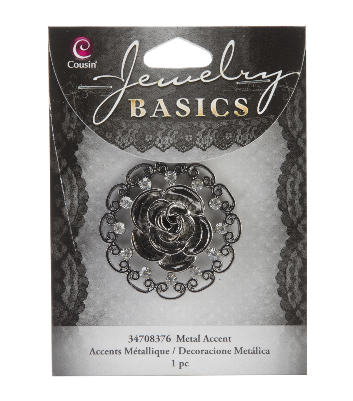 Jewelry Basics Metal Pendant 1/Pkg-Gunmetal Rose