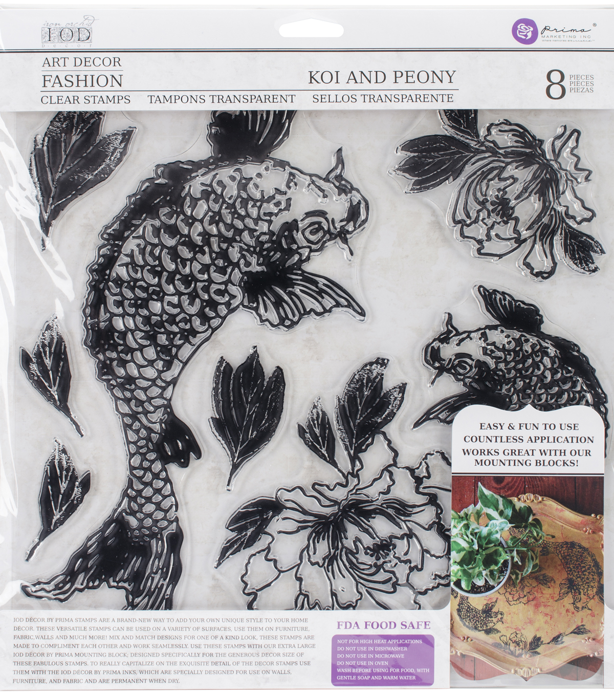 Iron Orchid Designs 8 pk Art Decor Fashion Clear Stamps-Koi & Peony