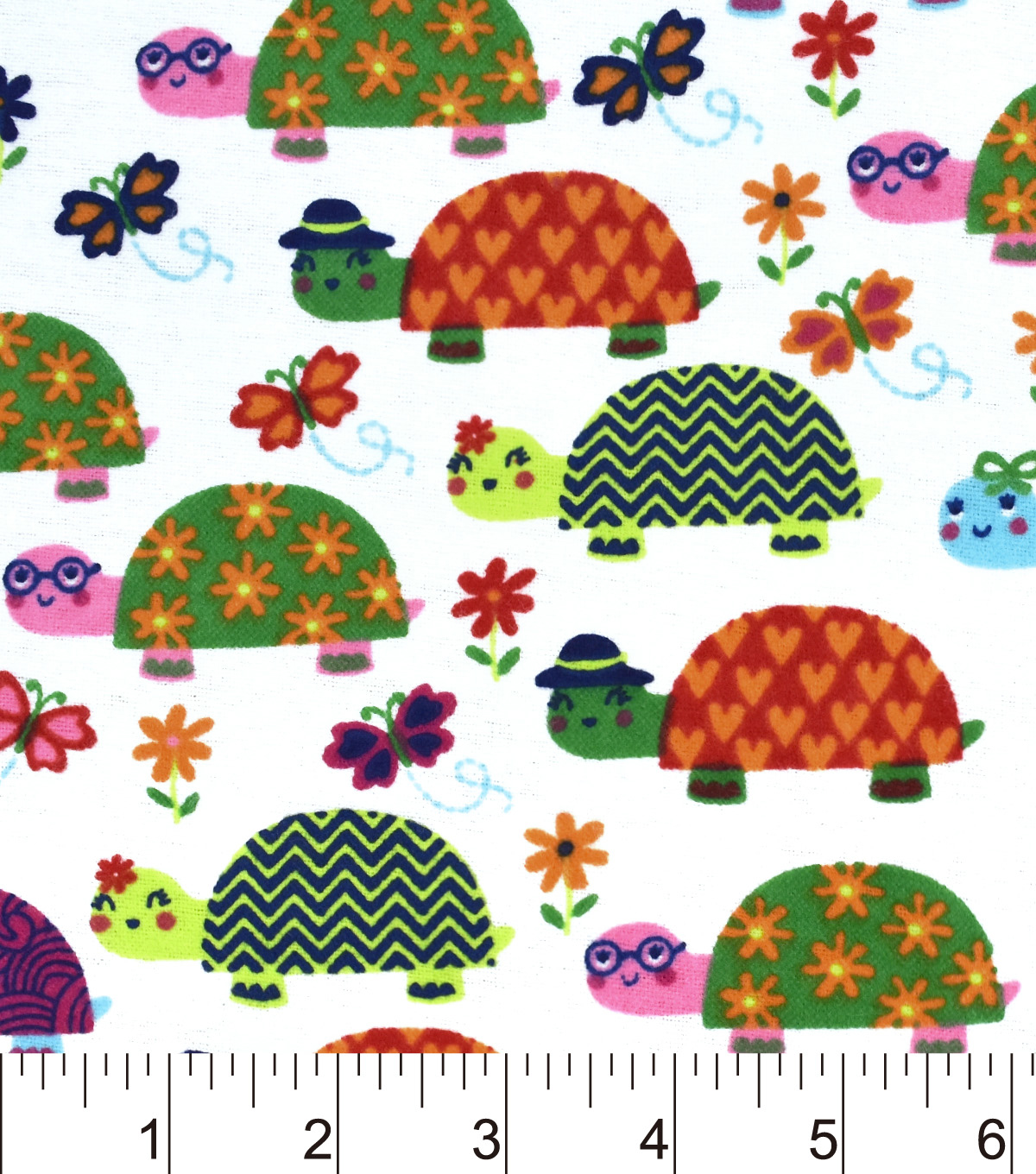 "Snuggle Flannel Fabric 42""-Bright Turtles"