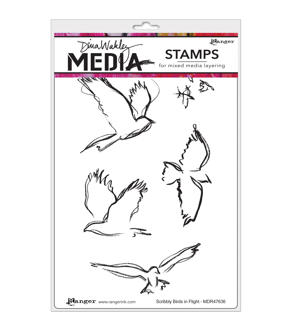 Ranger® Dina Wakley Media Cling Stamps-Scribbly Birds In Flight