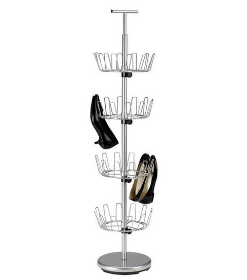 Household Essentials Silver 4-Tier Revolving Shoe Tree