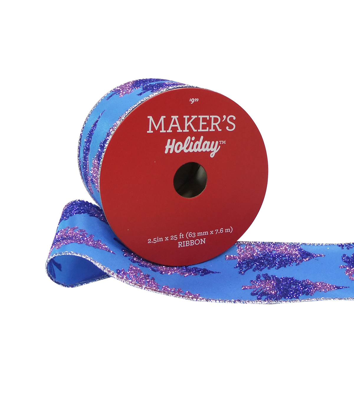 Maker's Holiday Christmas Ribbon 2.5''x25'-Purple Glitter Tree on Blue