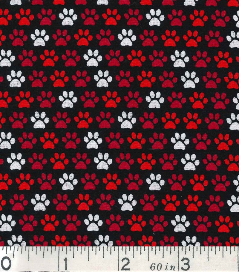 "Novelty Cotton Fabric 43""-Paw Prints On Black"