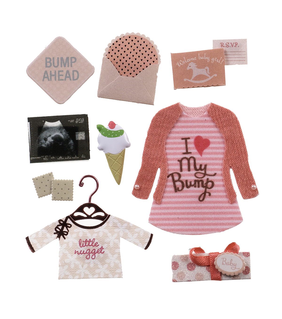 Jolee\u0027s Boutique Dimensional Stickers-Baby Girl Pregnancy