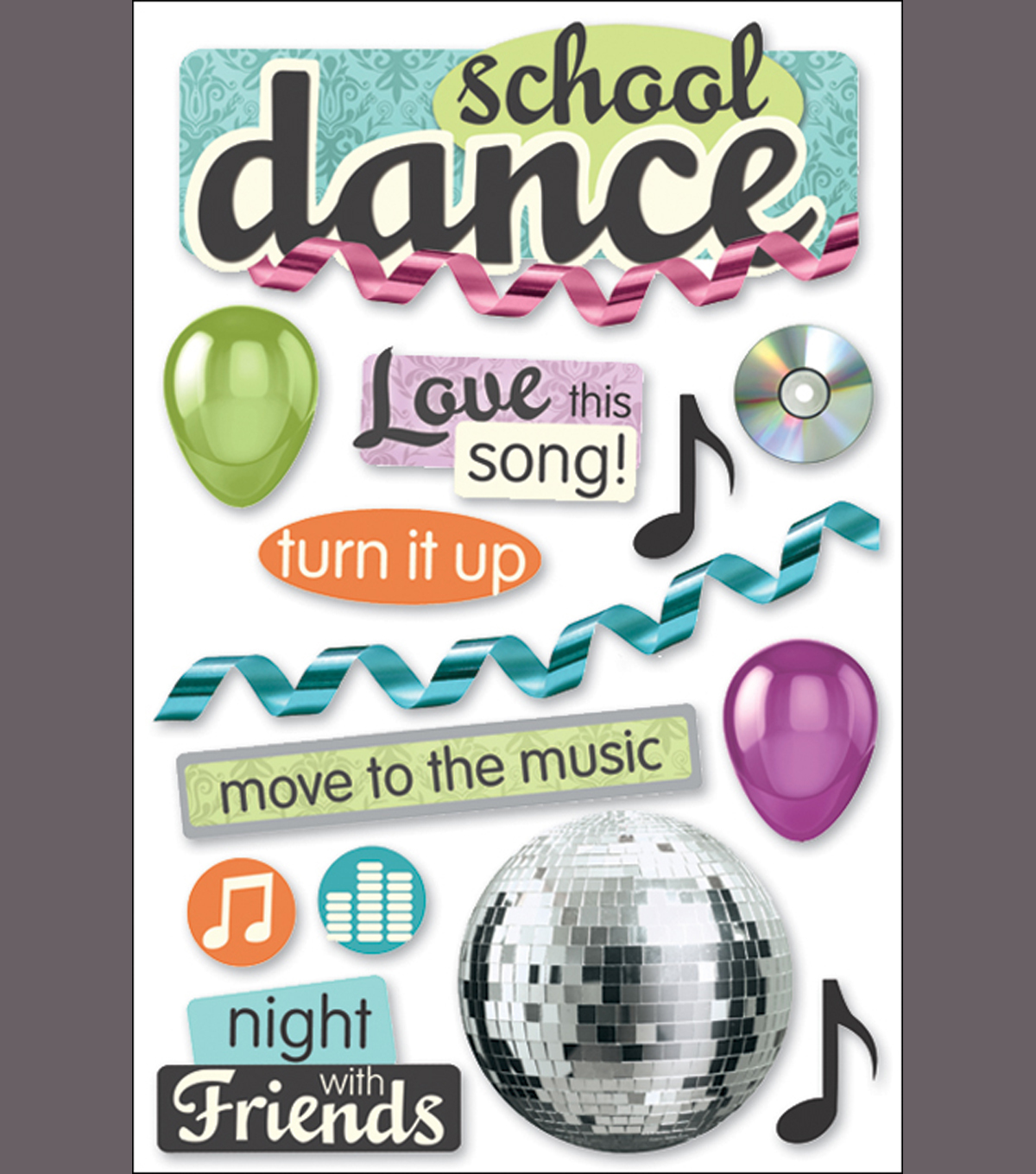 Paper House 3-D Sticker-School Dance