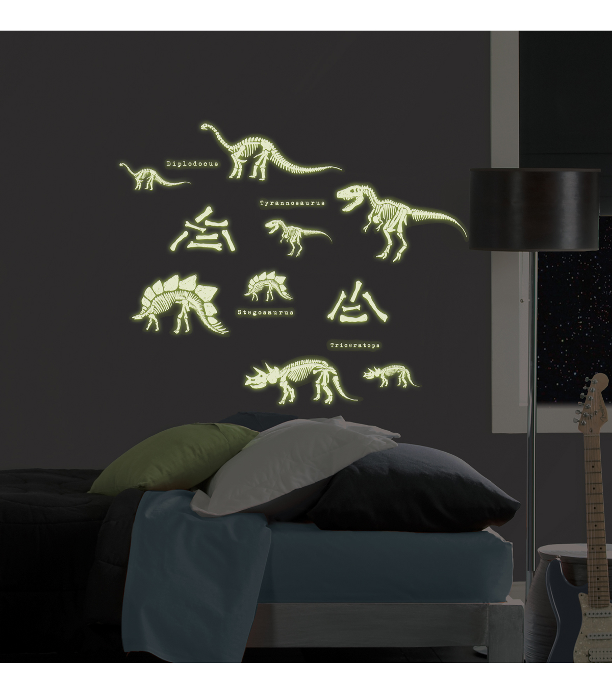 Wall Pops Glow in the Dark Dinosaur Appliques, 24 Piece Set
