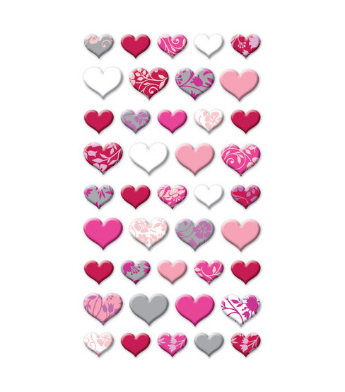 EK Success Puffy Dimensional Stickers-Lovely Hearts