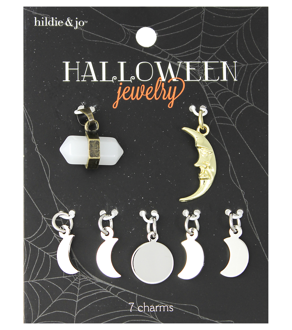 hildie & jo™ Halloween 7 Pack New Age Moon Charms-Crystal