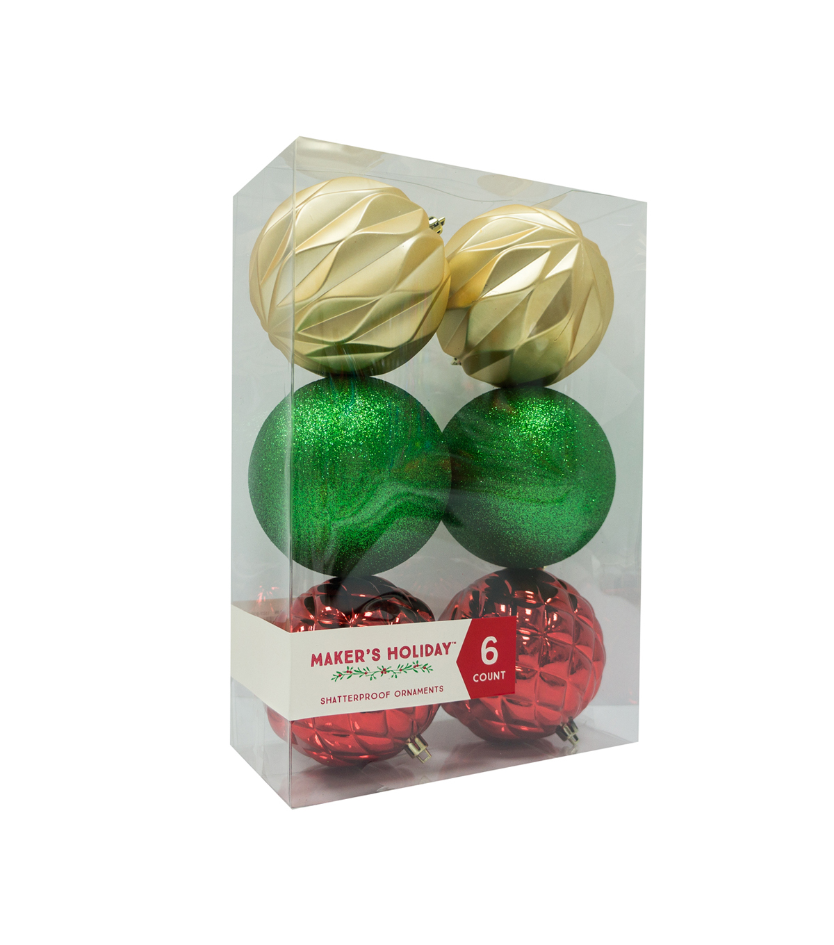 Maker\u0027s Holiday 6ct Shatterproof Ornaments-Red, Green & Gold