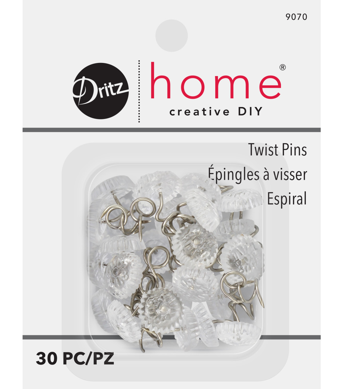 Dritz Upholstery Decorative Twist Pins 12mm 30/Pkg-Clear