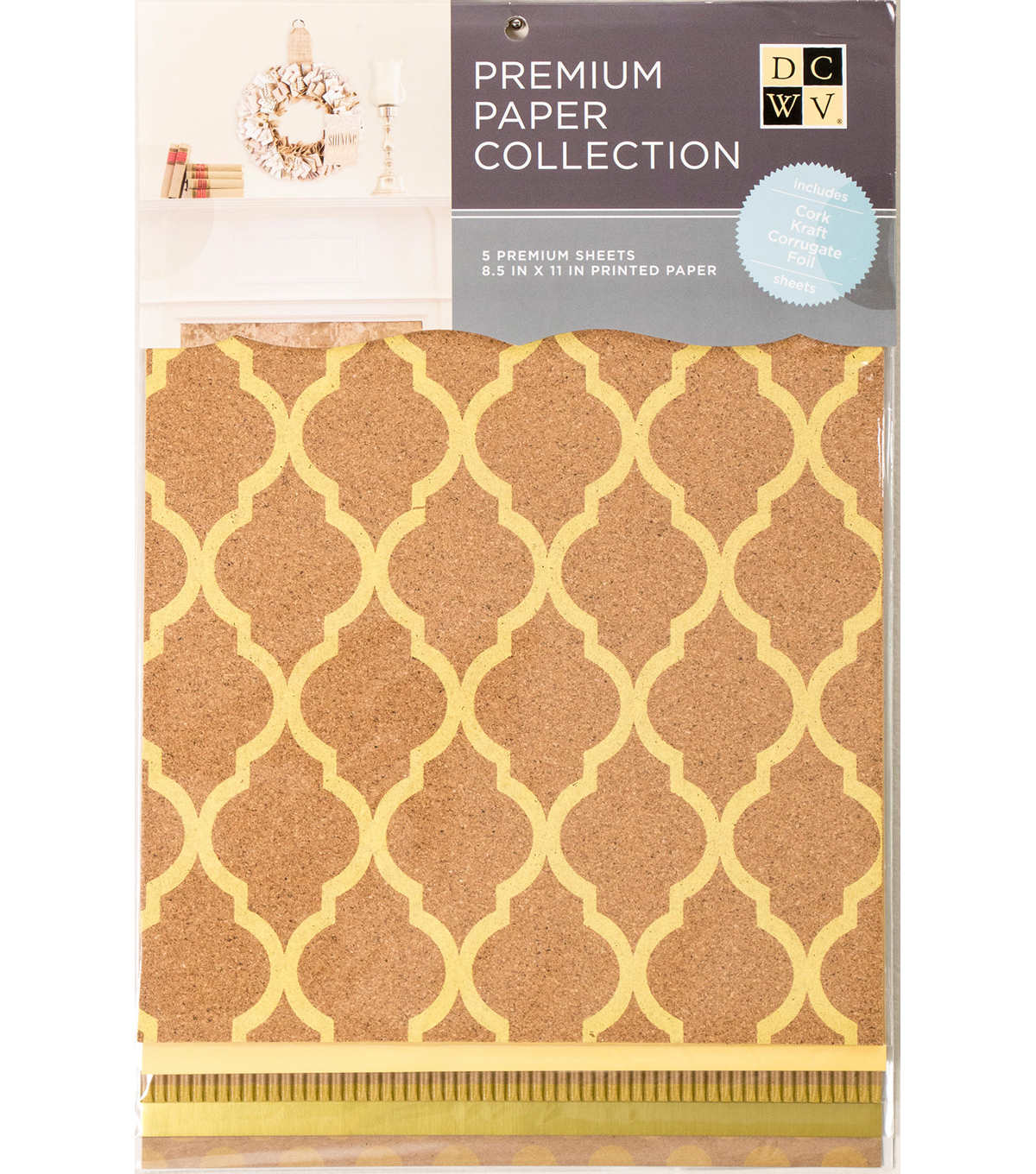 DCWV 8.5\u0022X11\u0022 set of 5 Premium Papers-Yellow/Natural Assortment