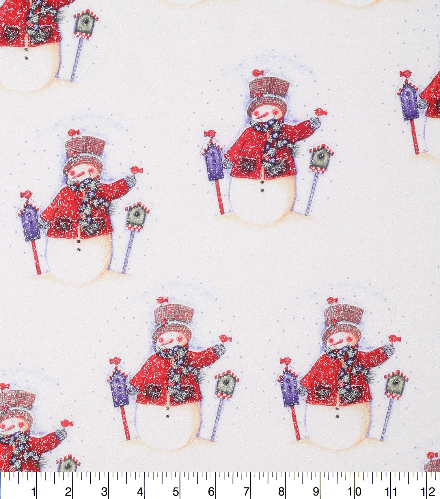 "Keepsake Calico™ Holiday Cotton Fabric 43""-Snowmen With Glitter"