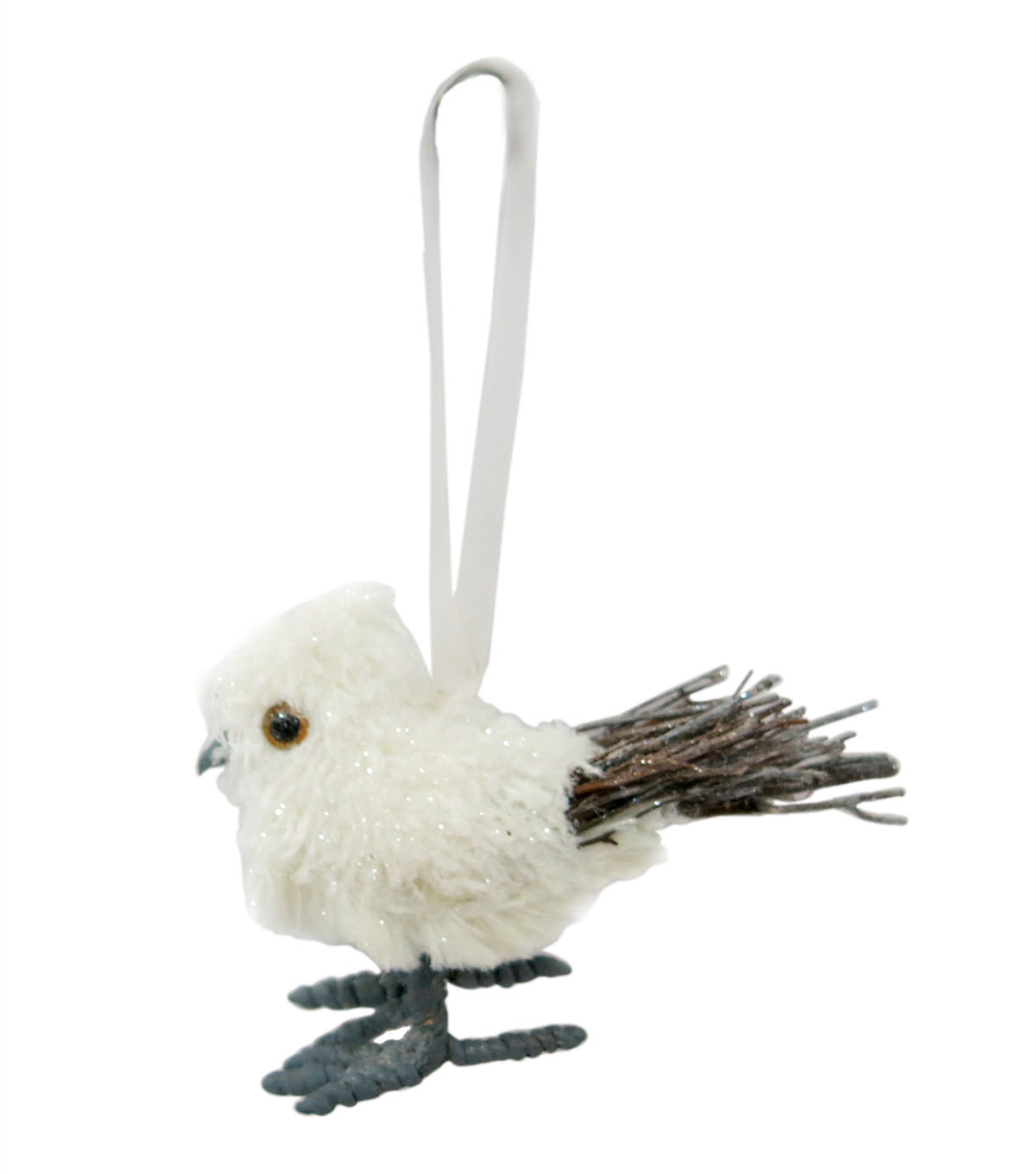 Maker\u0027s Holiday Christmas Arctic Frost Bird Ornament-White
