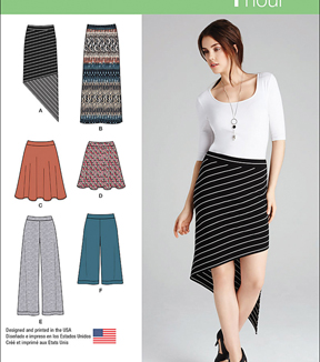 Simplicity Patterns Us1068D5-Simplicity Misses\u0027 Knit Skirts And Pants-4-6-8-10-12