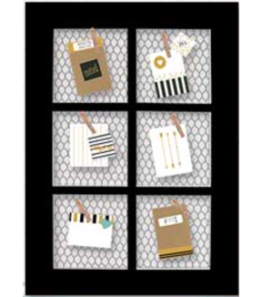 Memo Board 26x18\u0022 6 Section Wood and Wire-Black