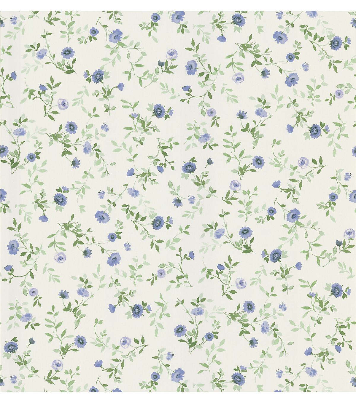 Garden Blue Wash Floral Wallpaper Sample