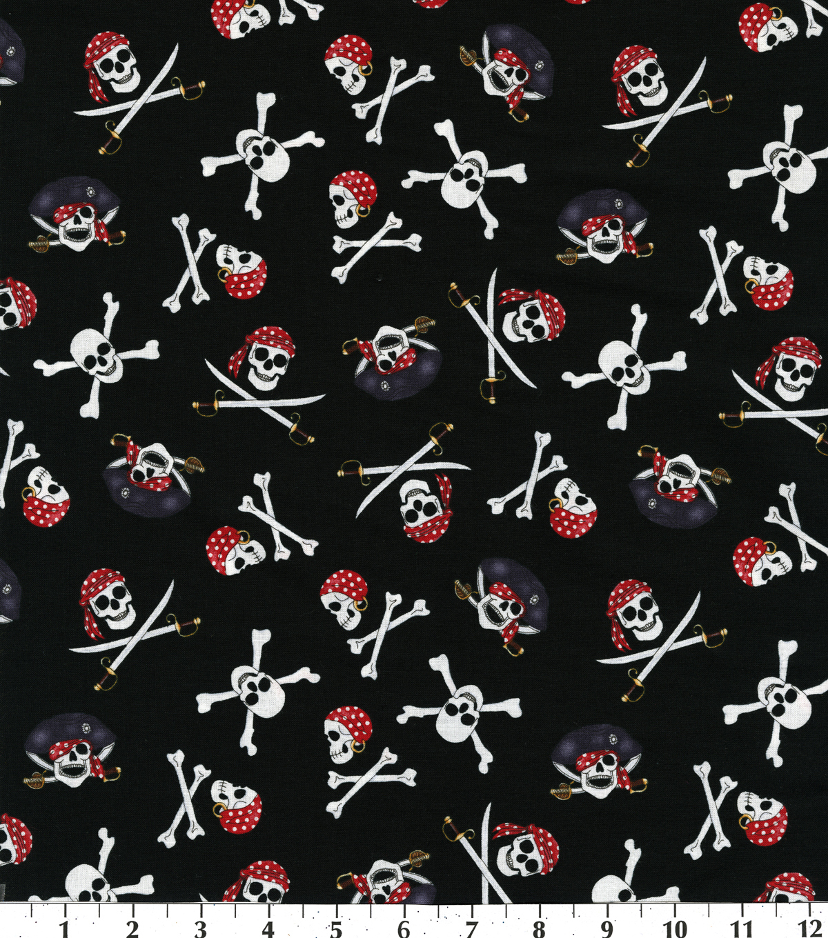 Novelty Cotton Fabric 44\u0022-Pirate Skulls On Black