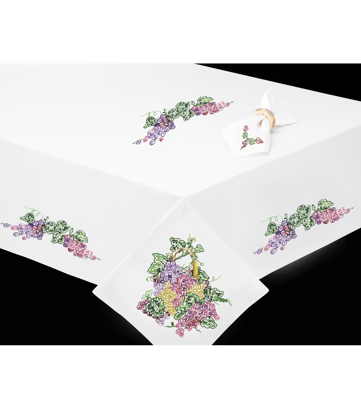 Tobin Grapes Stamped Napkins For Embroidery