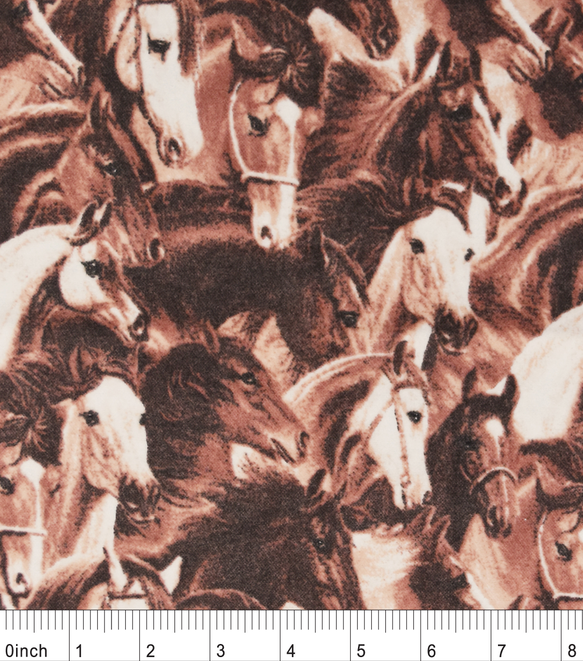 "Snuggle Flannel Fabric 42""-Running Horses Brown"