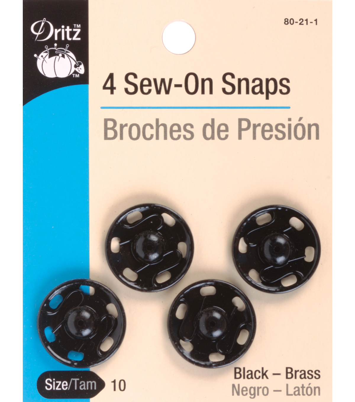 Dritz Sew-On Snaps 4pcs Size 10