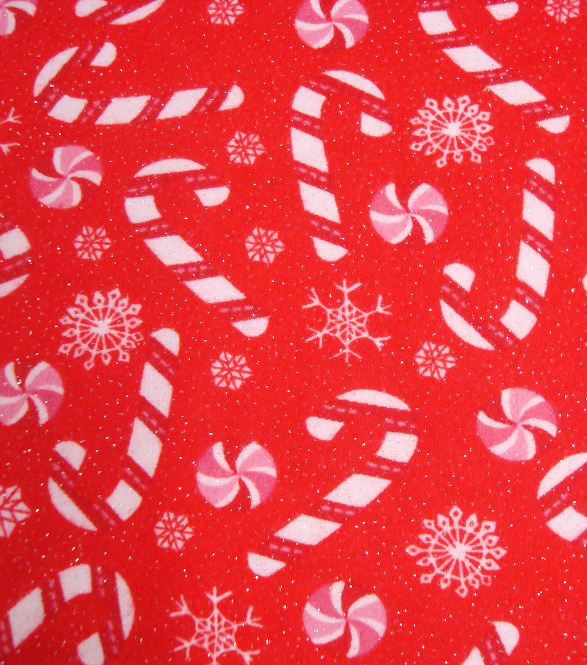 Maker\u0027s Holiday Fleece Fabric 42\u0022-Candy Canes