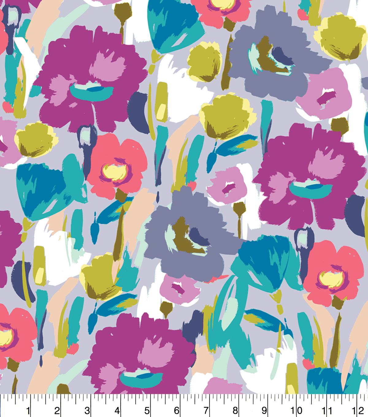 Anti-Pill Fleece Fabric 58\u0022-Grey Watercolor Floral