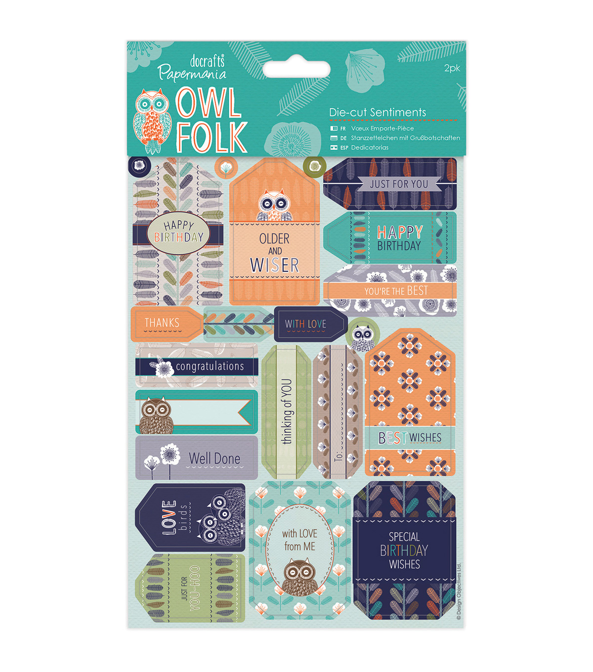 Papermania Owl Folk 2ct Die-Cut Sentiments