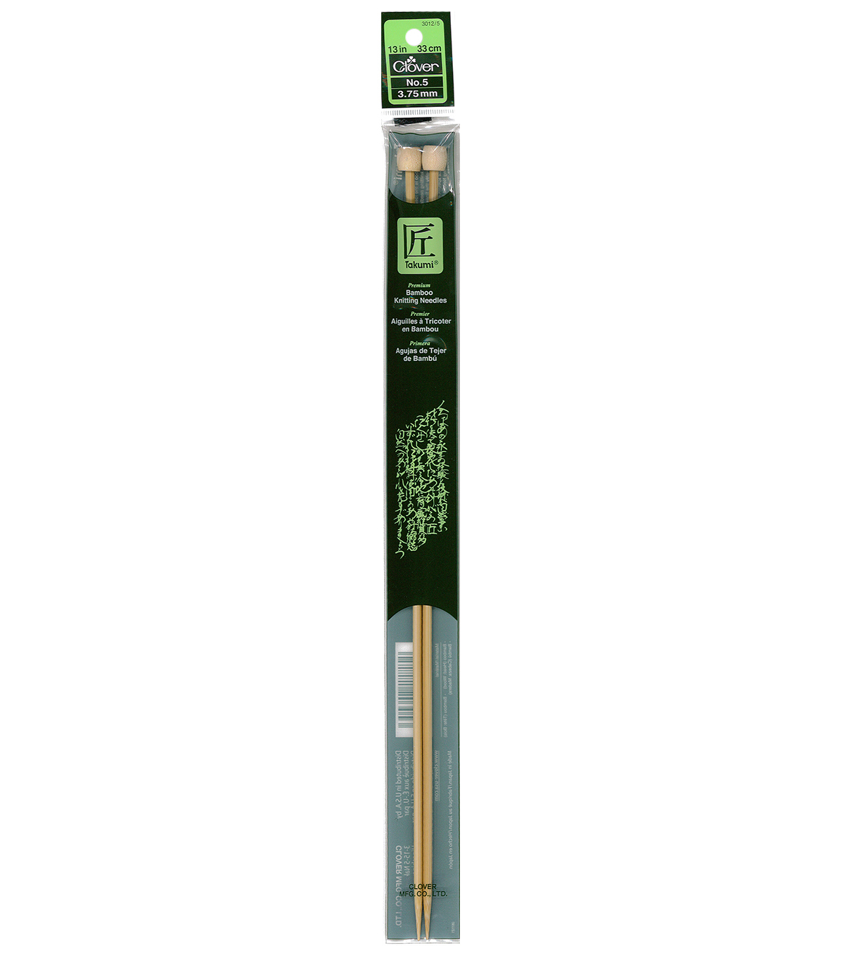 Clover Takumi Bamboo Knit Needle-Single Pt. 13\u0022-Size 5