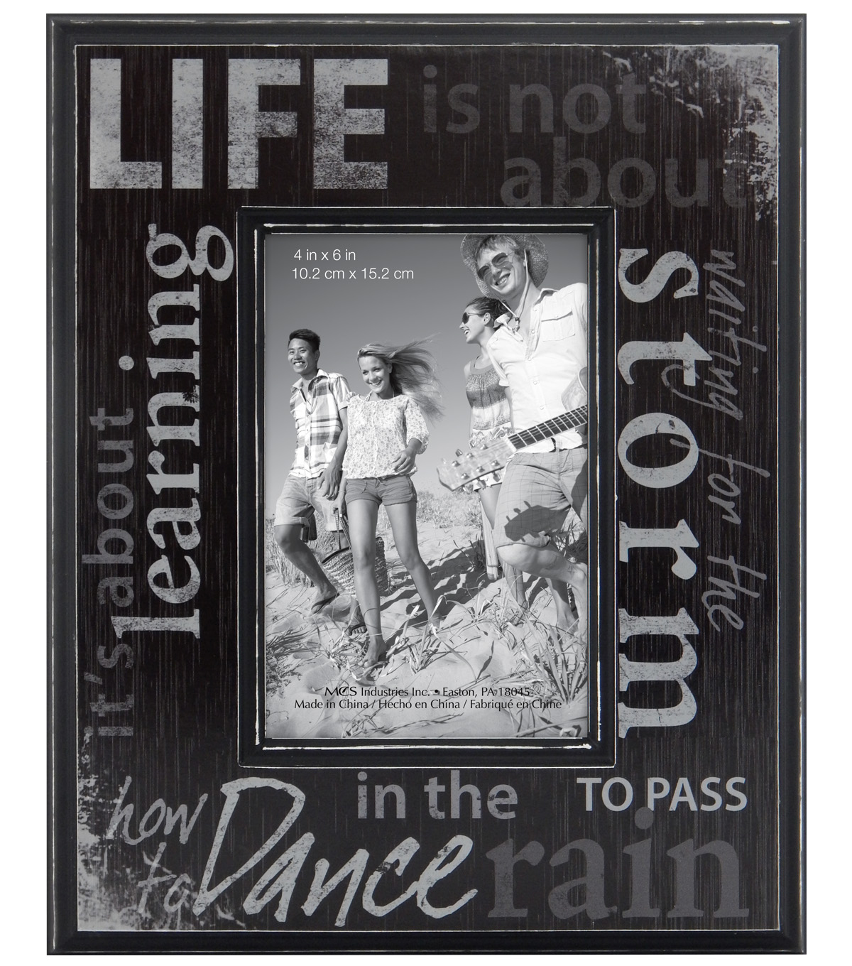 Life Sentiment Wall Frame 4X6-Distressed Black