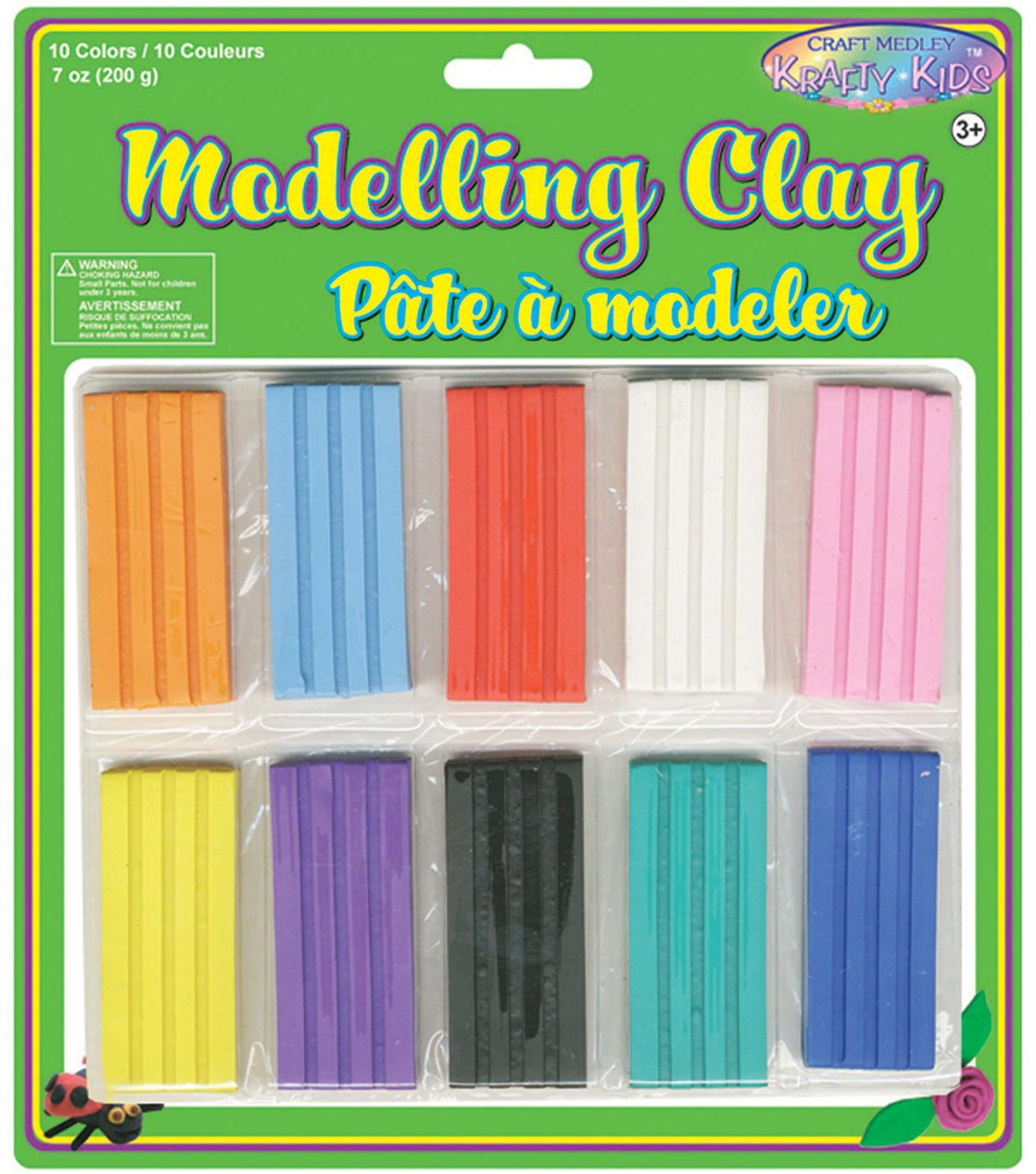 10 COLORS-MODELING CLAY 200GR