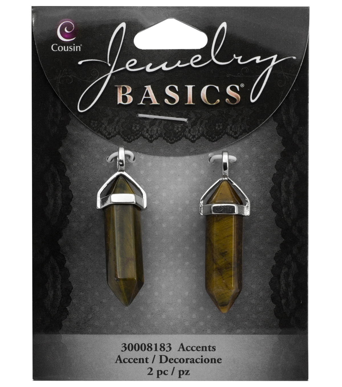 Cousin® Jewelry Basics 2 Pack Pencil Accents with Bail Caps-Brown
