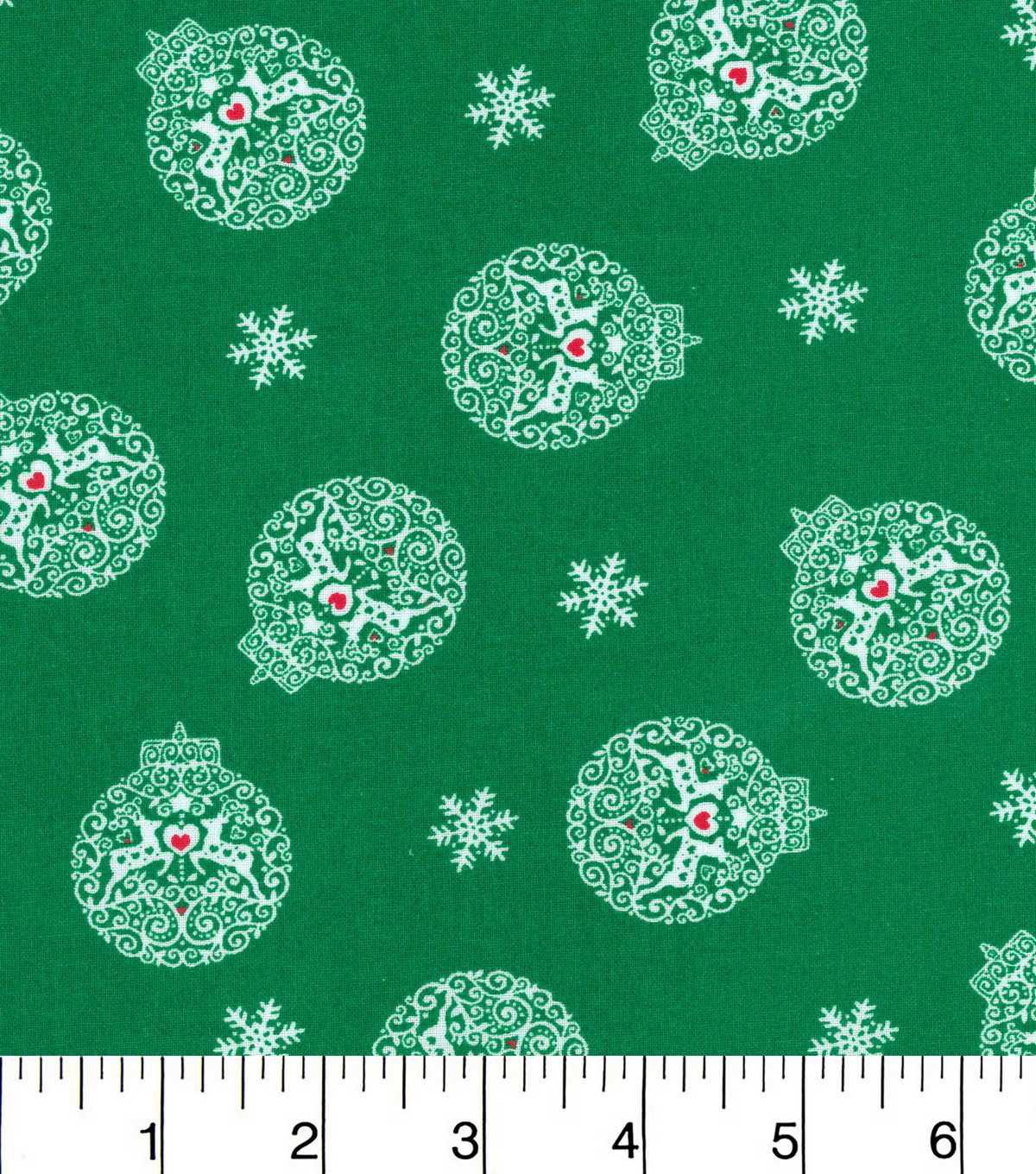 Keepsake Calico Christmas Cotton Fabric-Reindeers In Ornaments Green