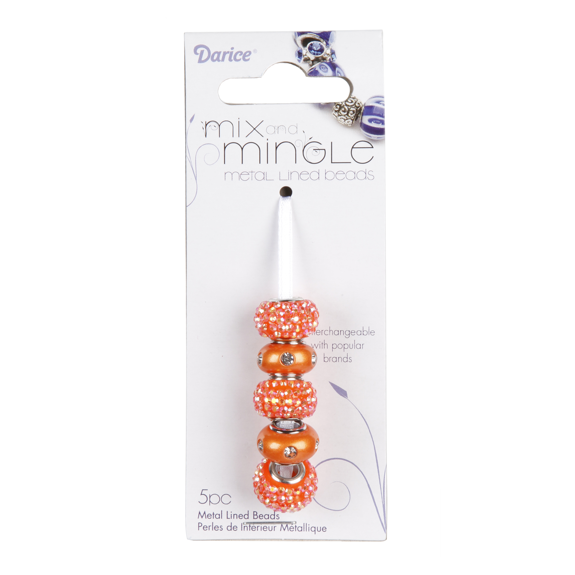 Mix and Mingle Orange Glitter and Pearlescent Bead Mix, 5pc