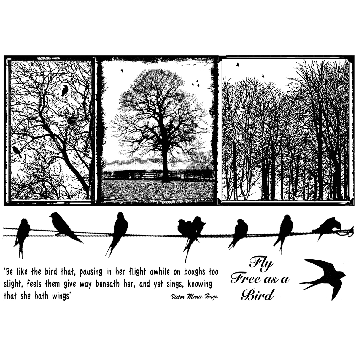 Crafty Individuals Unmounted Rubber Stamp Birds On A Wire