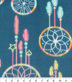 "Blizzard Fleece Fabric 59""-Dreamcatcher On Navy"