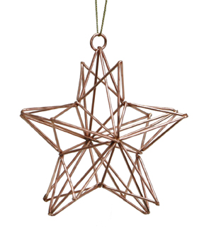Maker\u0027s Holiday Christmas Metal Geometric Star Ornament-Rose Gold