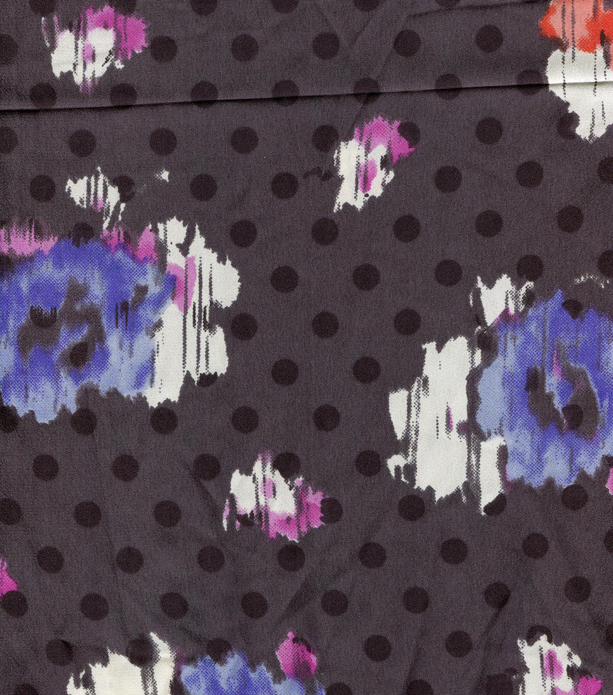 Silky Prints Crepe Fabric 55''-Gray Floral & Dot